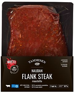 TAMMINEN WANTED NAUDAN FLANK STEAK MAUSTETTU N.400-700G