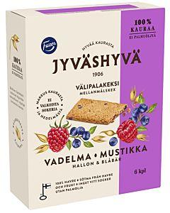 FAZER JYVÄSHYVÄ VÄLIPALAKEKSI VADELMA-MUSTIKKA (6X30G) 180G