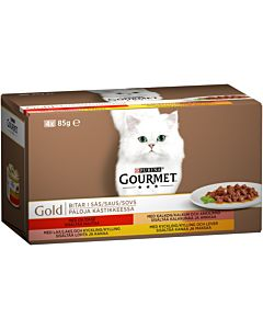 GOURMET GOLD 4X85G KASTIKELAJITELMA KISSANRUOKA