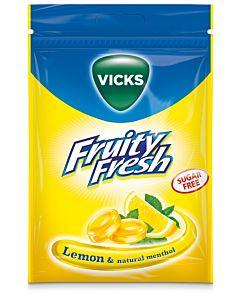 VICKS FRUITY FRESH LEMON & MENTHOL SOKERITON 72G KURKKUPASTILLI