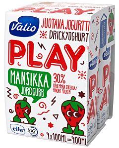 VALIO PLAY JUOTAVA JOGURTTI MANSIKKA  4x100ML LAKTOOSITON