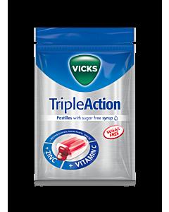VICKS TRIPLE ACTION Z+C SOKERITON 72G KURKKUPASTILLI