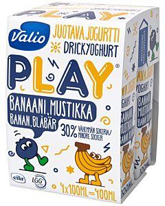 VALIO PLAY JUOTAVA JOGURTTI BANAANI-MUSTIKKA 4X100ML LAKTOOSITON