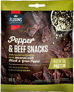 FLODINS PEPPER BEEF SNACK 40G GLUTEENITON