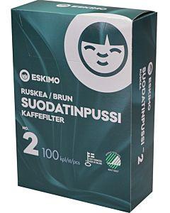 ESKIMO 2/100KPL SUODATINPUSSI VALKAISEMATON