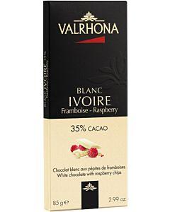 VALRHONA VALKOSUKLAALEVY  35% IVOIRE & VADELMA 85G