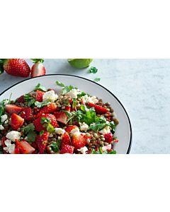 Resepti-Linssisalaatti mansikoilla