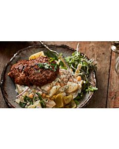 Resepti-Nyhtökaura® pannupihvi & kikherne-perunasalaatti