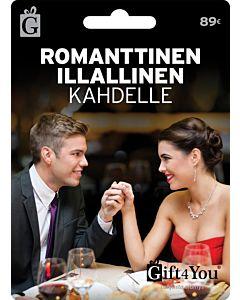GIFT4YOU ROMANTTINEN ILLALLINEN KAHDELLE 89EUR LAHJAKORTTI