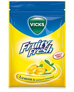 VICKS FRUITY FRESH LEMON & MENTHOL SOKERITON 72G KURKKUPASTILLI