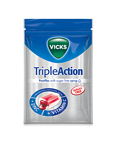 VICKS TRIPLE ACTION Z+C SOKERITON 72G KURKKUPASTILLI