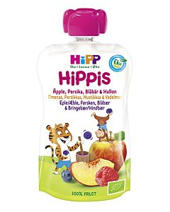 HIPP HIPPIS OMENA/PERSIKKA/MUSTIKKA/VADELMA 100G 6KK