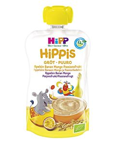 HIPPIS LUOMU PUUROSMOOTHIE APPELSIINI, BANAANI, MANGO, PASSIONHEDELMÄ, KAURA JA VEHNÄ 100G 6KK