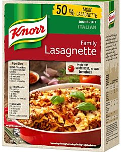 KNORR 338G FAMILY LASAGNETTE ATERIA-AINEKSET