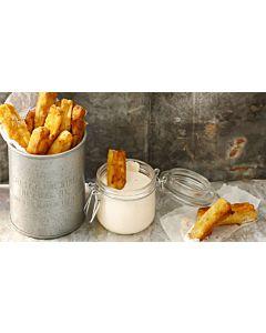 Resepti-Kotijuustotikut & harissa-dippi
