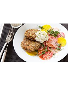 Resepti-Kvinoapihvit ja sitruunaruohotahna