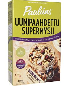 PAULUNS UUNIPAAHDETTU SUPERMYSLI 450G KARHUNVATUKKA-KARDEMUMMA-MACADAMIAPÄHKINÄ