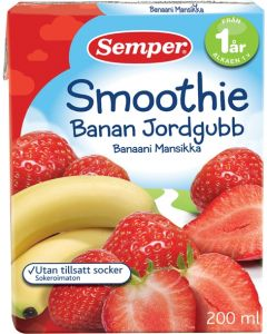 SEMPER 200ML SMOOTHIE BANAANI-MANSIKKA 12KK