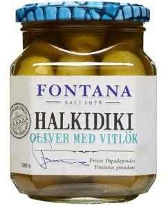 FONTANA HALKIDIKI 380/210G OLIIVI VALKOSIPULITÄYTTEELLÄ