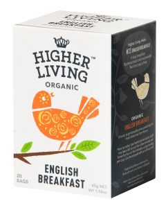 HIGHER LIVING ENGLISH BREAKFAST LUOMU MUSTA TEE 15PSS