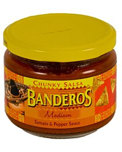 BANDEROS 300G CHUNKY SALSA TOMATO-PEPPER MEDIUM
