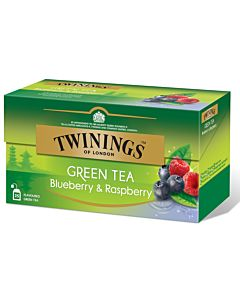 TWININGS 25PS/40G GREEN TEA BLUEBERRY-RASPBERRY