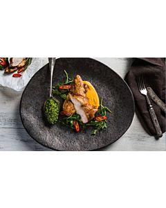 Resepti-Paistettua kananpoikaa, porkkanapyrettä ja  rucolapestoa
