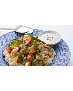 Resepti-Lämmin katkarapu-lohisalaatti