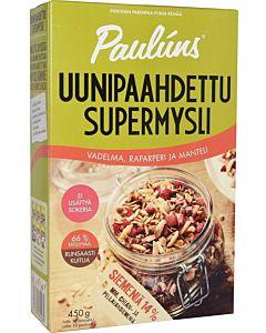 PAULUNS UUNIPAAHDETTU SUPERMYSLI 450G VADELMA-RAPARPERI-MANTELI