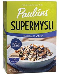 PAULUNS SUPERMYSLI 500G MUSTIKKA-VANILJA